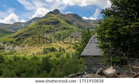 part of a cabin in a villa of green and high mountains for a rural vacation.