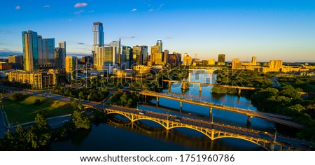 Austin Texas Sunset gorgeous unbelievable colorful golden hour evening high above the Cityscape Skyline of the Capital City of Texas