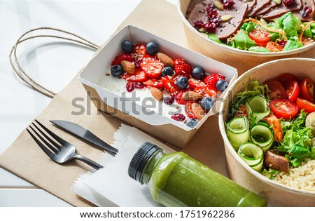 Healthy meal slimming diet plan daily ready menu background, organic fresh dishes and smoothie, fork knife on paper eco bag as food delivery courier service at home in office concept, close up view. #1751962286