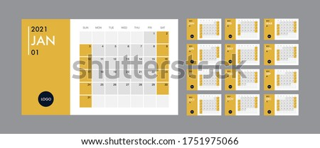 Calendar template for 2021 year. Planner diary in a minimalist style. Corporate and business calendar. 2021 calendar in minimal table and blue and yellow color event planner, Week Starts Sunday Royalty-Free Stock Photo #1751975066