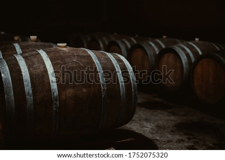 Vintage old oak barrels of wine, cognac in the wine dark vaults of the winery. Selective soft focus. Shooting in the dark Royalty-Free Stock Photo #1752075320