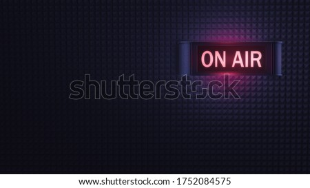on air retro sign on a soundproofing foam wall. 3D rendering, illustration