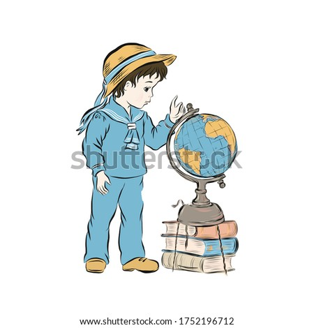 Boy studying the globe. Planet Earth. Stack of multi-colored book. Schoolboy vintage. Hand drawn kid clip art.