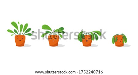 Cute sad wilted plant in a pot. Stages of withering, abandoned and scared houseplant without watering and care. Potted plant dying. Vector illustration #1752240716