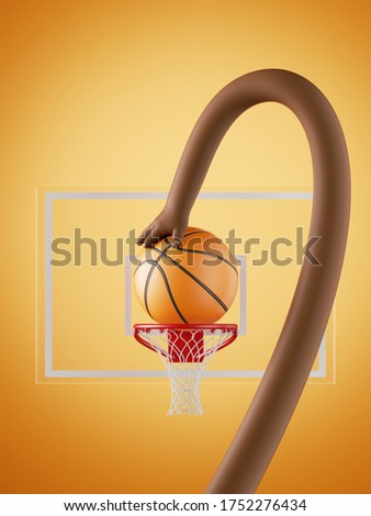 3d render, african cartoon character, long flexible boneless hand throw the ball to the basket, funny basketball player. Sport clip art for kids. Sportive poster