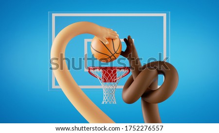 3d render. Basketball game players throw the ball into the basket. African and caucasian cartoon character hands. Sportive clip art isolated on blue background.
