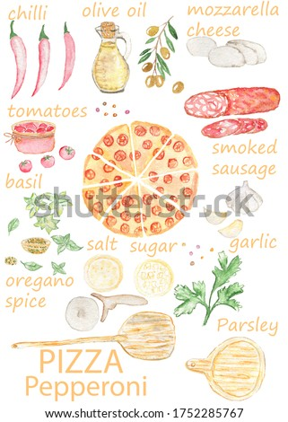 Watercolor pepperoni pizza.Recipe.Menu.Pizzeria.Set. Clip Art picture.Kitchen Decor, Food Large Poster. Italy Wall Art, Dining Room Decor.