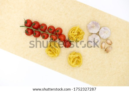 Ingredients for spaghetti. Photo, isolated on a white. #1752327287