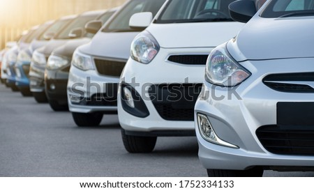 Cars in a row. Used car sales Royalty-Free Stock Photo #1752334133