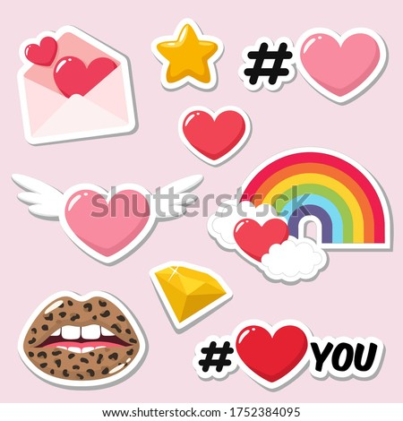 Set of love romantic icon sticker. Stock image love icon sticker