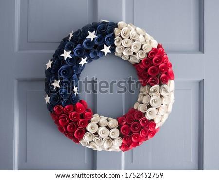 American Flag Wreath on a Blue Gray Door