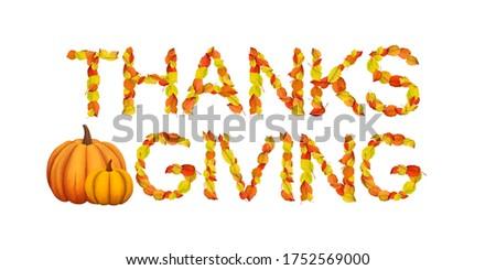 Bright Thanksgiving Word art. Golden autumn leaves clip art on white background