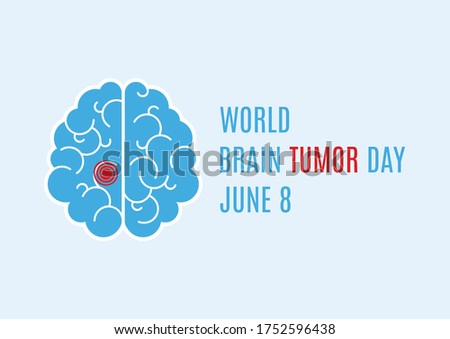 World Brain Tumor Day illustration. Human brain icon. Sick brain abstract icon. Brain Tumor Day Poster, June 8. Important day