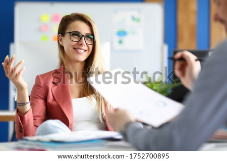 Two adult business people make work interview against office background.One on one meeting concept. Royalty-Free Stock Photo #1752700895