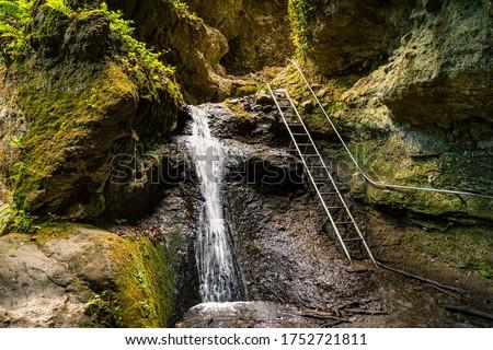 Ram-szakadek, Ram Ravine or Ram Canyon near the village Dobogoko and Domos in Hungary, a very popular and beautiful hiking, trekking trail and tourist attraction #1752721811