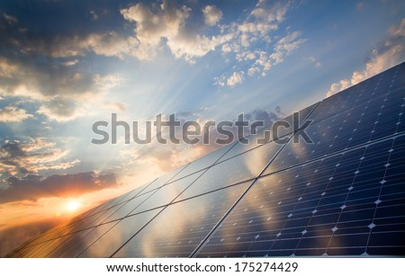 background of photovoltaic modules for renewable energy  Royalty-Free Stock Photo #175274429