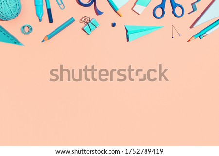 School stationery on a pink background. Back to school creative illustration, template.