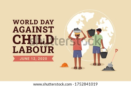 World day against child labour background with children working in a construction field. Flat style vector illustration concept of anti child exploitation campaign for poster and banner. #1752841019