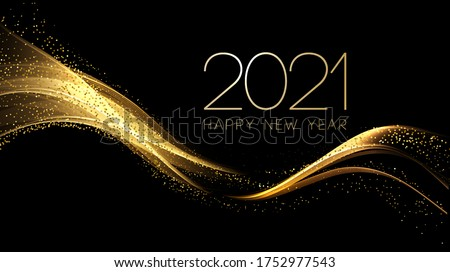 2021 New Year Abstract shiny color gold wave design element #1752977543