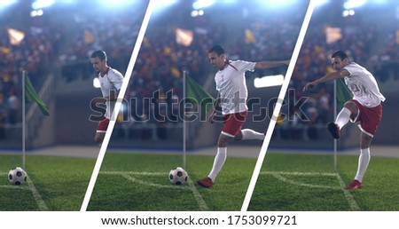 Photo collage of soccer game moments on the professional stadium made in 3d.
