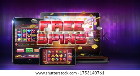 Online gambling concept image for mobile casinos offering free spins rounds on slots games. 3D Rendered illustration showing slot games layouts on mobile devices screens