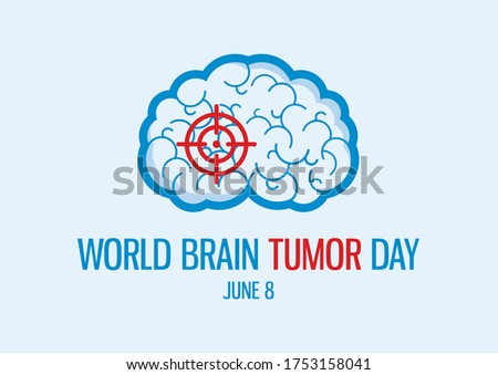 World Brain Tumor Day illustration. Human brain icon. Sick brain with a target abstract icon. Brain Tumor Day Poster, June 8. Important day