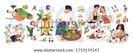 Set of different people enjoy gardening and planting vector flat illustration. Man and woman with fresh vegetables and fruits isolated on white. Farmers and gardeners doing job or agricultural hobby #1753159547