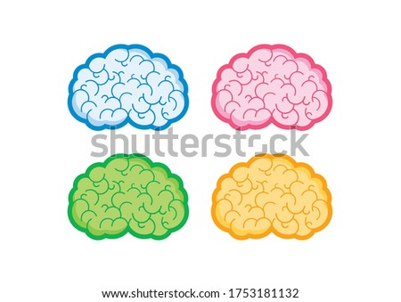 Human brain multicolored icons set. Brain abstract icon set on a white background. Stylized brain clip art. Blue, pink, green and orange brain collection. Colorful states of mind illustration