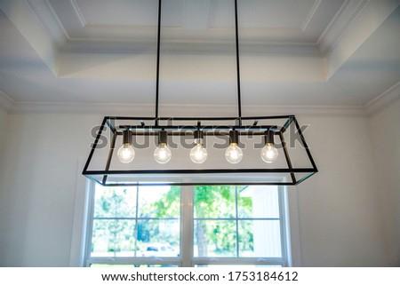 Hanging retro black metal iron chandelier lighting fixture with vintage bulbs  #1753184612