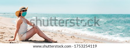 Woman in sunglasses and straw hat wearing medical mask at beach, new normal rules, web banner. Life after pandemic, obligatory use of face mask in public spaces, copy space #1753254119
