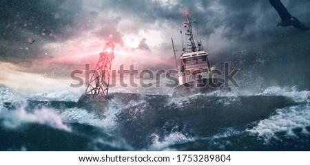 Shining buoy tells ship the way   Royalty-Free Stock Photo #1753289804