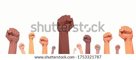 black lives matter raised up mix race fists awareness campaign against racial discrimination of dark skin color support for equal rights of black people horizontal vector illustration #1753321787