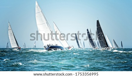 Sailing ships race. Beautiful sailboats under sail on a cruise regatta. Travel and tourism at sea Royalty-Free Stock Photo #1753356995