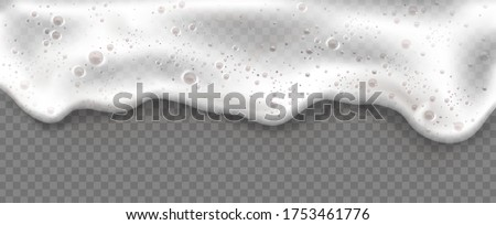 Beer foam isolated on transparent background. White soap froth texture with bubbles, seamless border, foamy frame. Sea or ocean wave, laundry cleaning detergent spume, realistic 3d vector illustration #1753461776