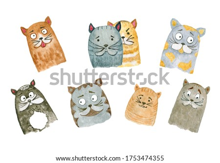 Hand drawn watercolor set of different cats emotions, cats heads isolated on white background.