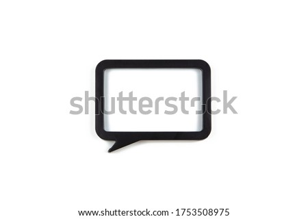 Black clean rectangle frame in the form of speech bubble isolated on white background, copy space. Flat lay or side view, minimal style mock-up. For gift shop, social media, website design.