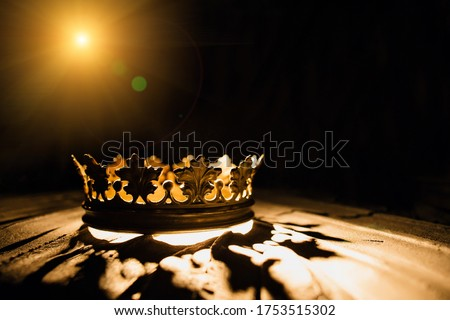 The crown on a black background is illuminated by a golden beam. Low-key image of a beautiful queen / royal crown Vintage is filtered. Fantasy of the medieval period. Battle for the Throne. Royalty-Free Stock Photo #1753515302