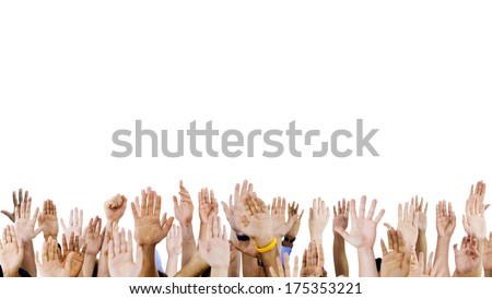 Diverse Raised Hands Royalty-Free Stock Photo #175353221