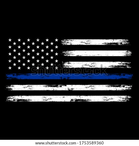 Illustration US Police Flag with distreesed, thin blue line flag, us flag, justice, cps
