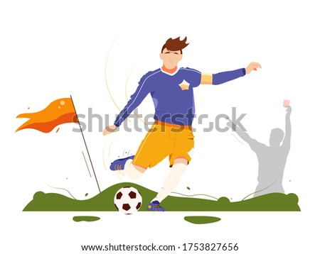Frame and bright illustration, soccer player hits the ball, playing soccer, flat design