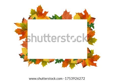 Bright drawn autumn frame. Golden autumn clip art on white background