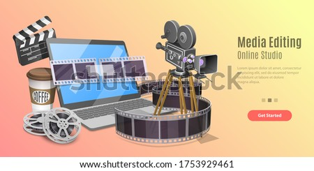 3d Concept of Online Video Editing App, Motion Design Studio Software, Multimedia Production, Video Blogging. Vector Template For Web Banner or Website Landing Page.