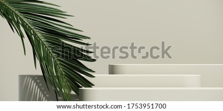 Minimal abstract cosmetic background for product presentation. Cosmetic bottle podium and green palm leaf on grey color background. 3d render illustration. Object isolate clipping path included.