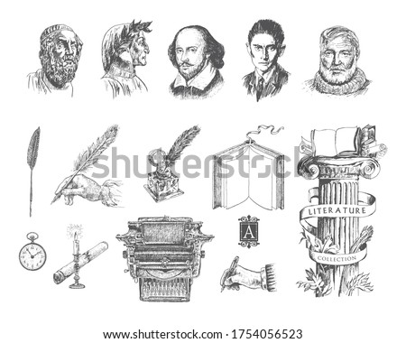 Literature hand drawn vector set. Portraits of the famous writers and poets. Inkwell, writing tools, pens, books, ancient manuscripts, typewriter, antique column. Literature Engraving style Royalty-Free Stock Photo #1754056523