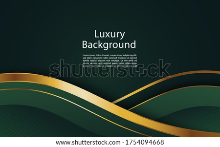 Abstract wavy luxury dark green and gold background. Graphic design element. Royalty-Free Stock Photo #1754094668