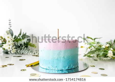 Multicolor cake with topper stick on white background with flowers, baby shower/birthday cake topper mockup