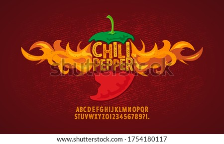 Vintage font with a grunge effect, handwritten font and alphabet. Vector illustration. Hot burning Chili pepper with fire. Royalty-Free Stock Photo #1754180117