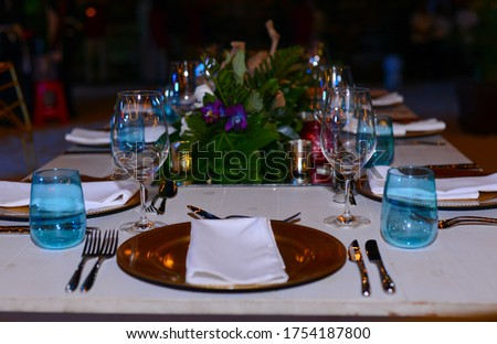 Activity table, decorated with clear glasses, tile and dishes #1754187800