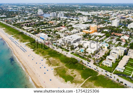 Aerial drone photo Delray Beach Florida reopening during Coronavirus Covid 19 pandemic #1754225306