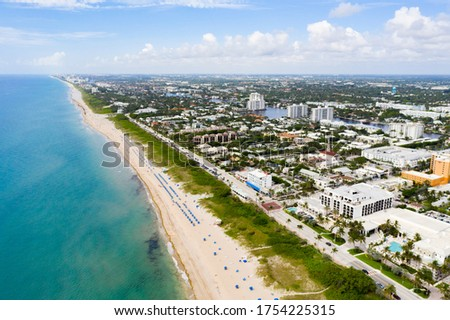 Aerial drone photo Delray Beach Florida reopening during Coronavirus Covid 19 pandemic #1754225315